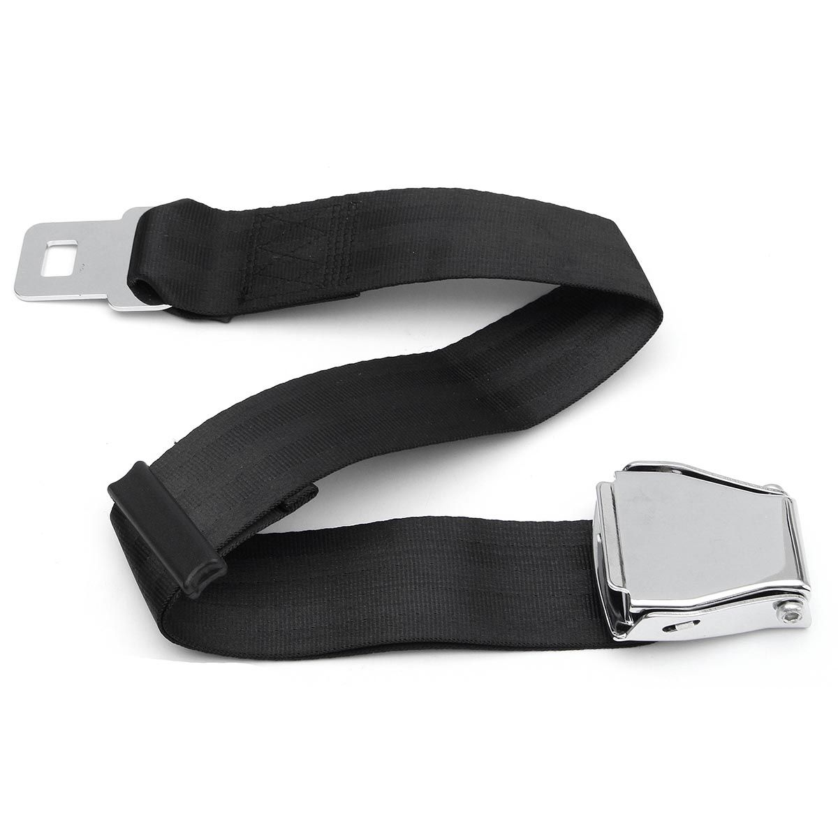 Adjustable Black Airplane Seat Belt Extension Extender Buckle Aircraft Buckle Belt Extended High-strength Polyester Webbing