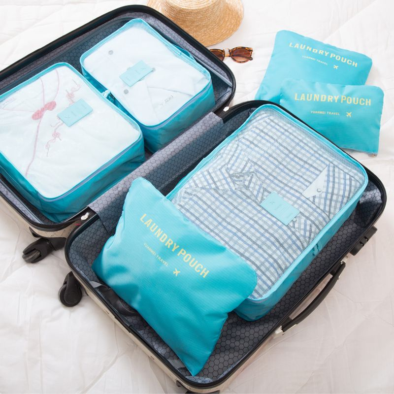 20176 pièces/ensemble femmes organiseurs ganiser sac sacs de voyage en Nylon emballage Cubes Portable grande capacité bagages vêtements ranger tri