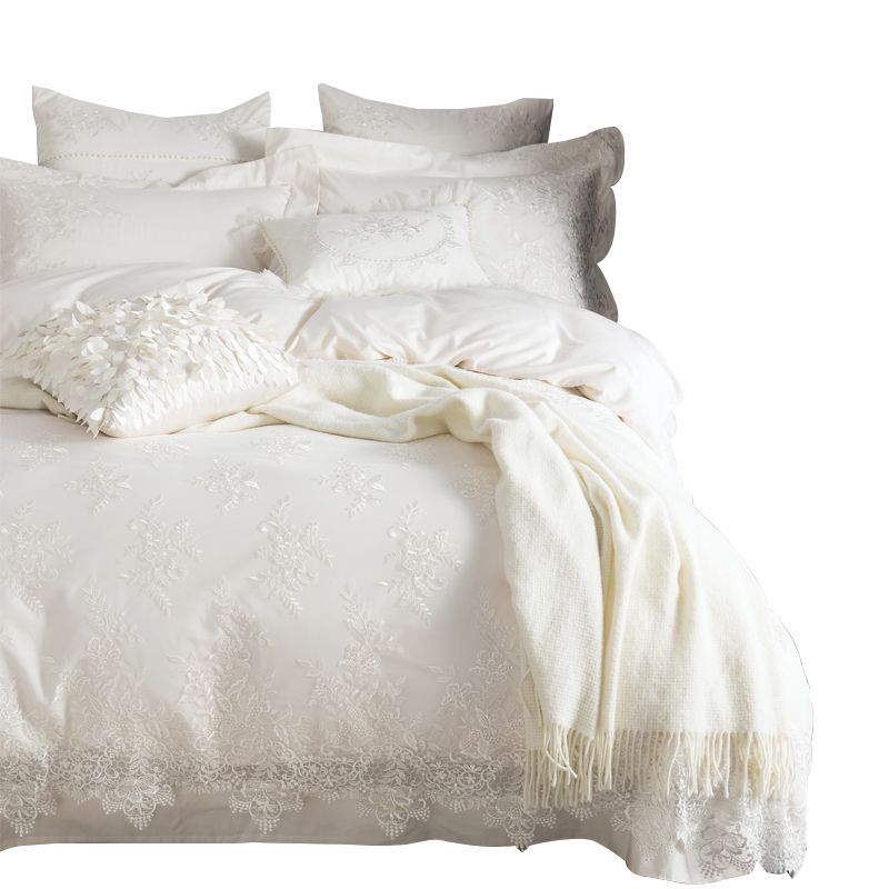 Egypt cotton Embroidered duvet cover set King Queen size White Lace Princess Bedding set luxury bedclothes bed sheet pillowcases
