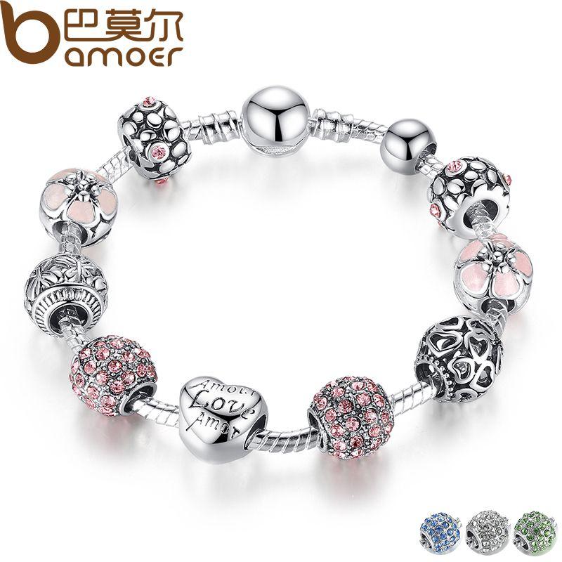 BAMOER Antique Silver Charm Bracelet & Bangle con Amor y de Cristal de Flores de Las Mujeres de La Boda del Día de San Valentín Regalo PA1455