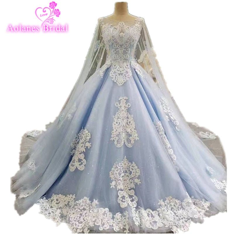 2017 Real Photos Blue Ball Gown Wedding Dress Long Train Luxury Lace Crystals Beaded Wedding Dresses Cape Veils Bridal Dresses