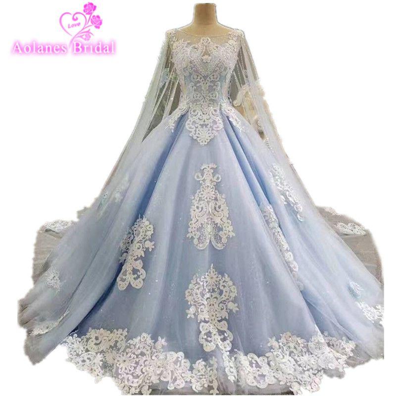 2017 echt Fotos Blue Ballkleid Brautkleid Lange Zug Luxus Spitze Kristalle Perlen Brautkleider Cape Schleier Braut Kleider