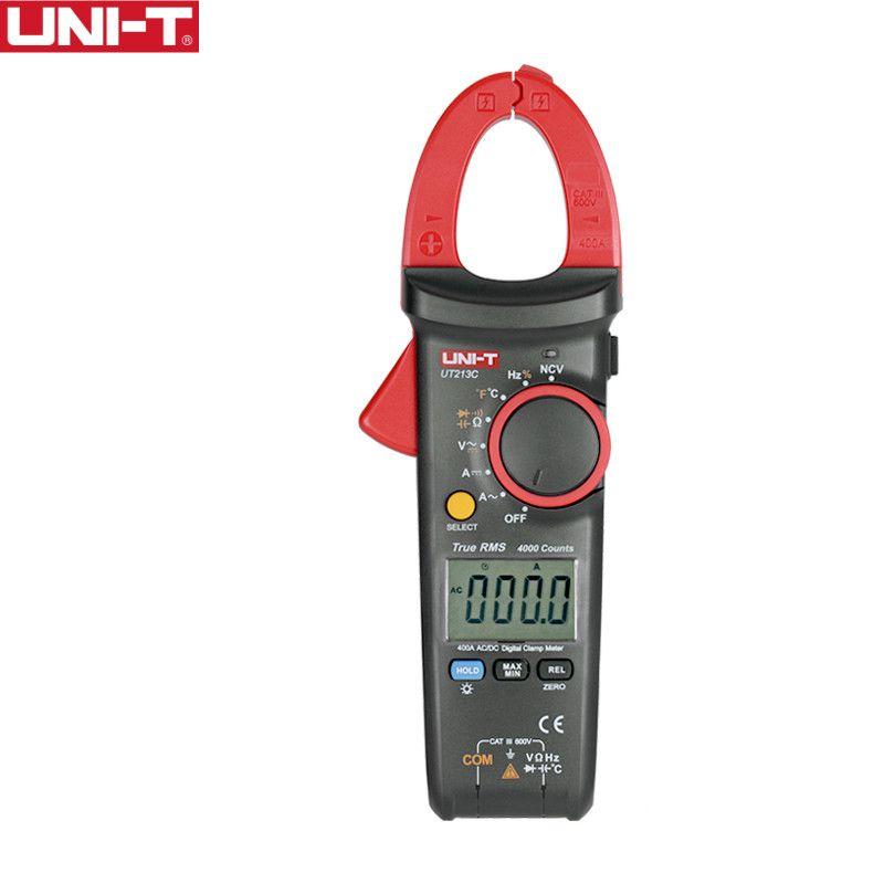 UNI-T UT213C 400A Digital Clamp Meters Voltage Resistance Capacitance Multimeter Temperature Auto Range multimetro Diode trueRMS