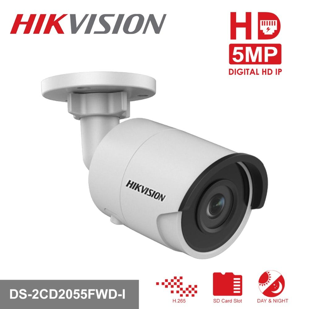 Hikvision H.265 Video Surveillance Camera Outdoor DS-2CD2055FWD-I 5MP Ultra-Low light Bullet IP Camera PoE Built-in SD Card Slot