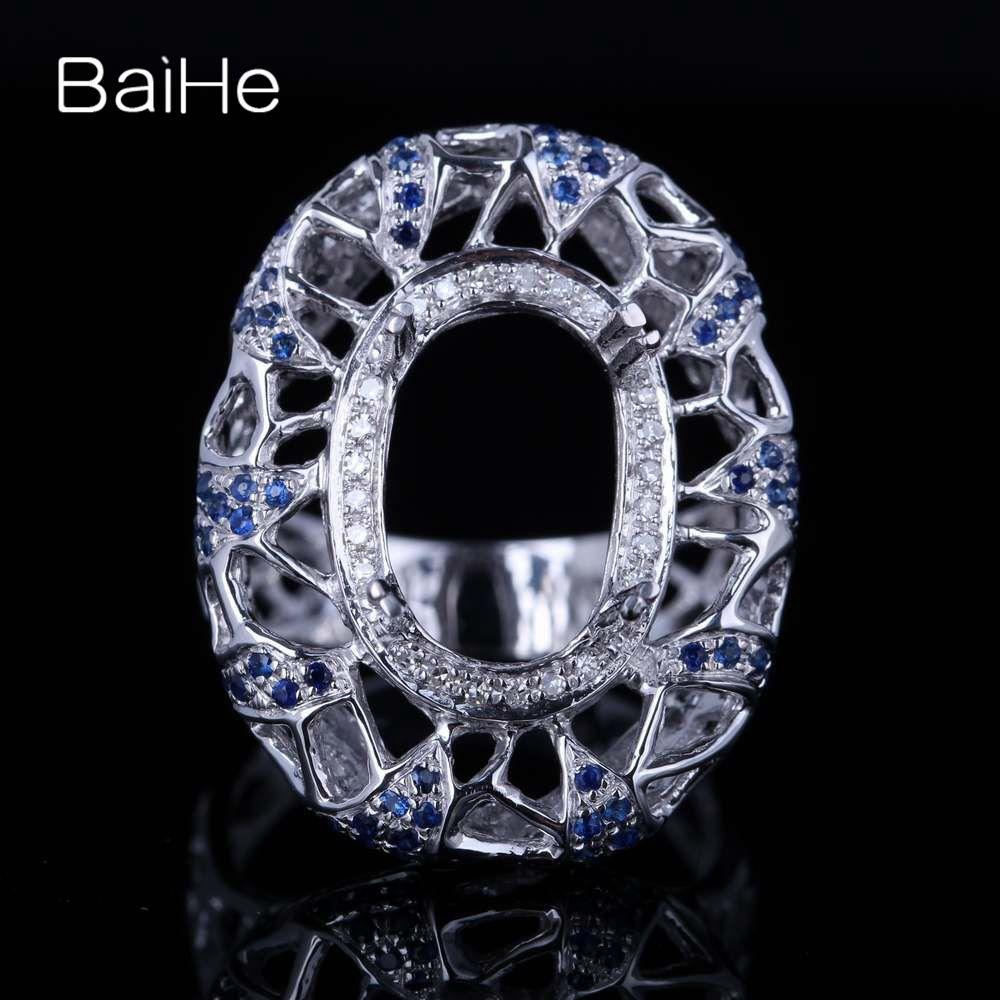 BAIHE Solide 14 K Weiß Gold (AU585) zertifiziert Oval cut Jahrestag Frauen Nette/Romantische Edlen Schmuck Elegante einzigartige Semi Mount Ring