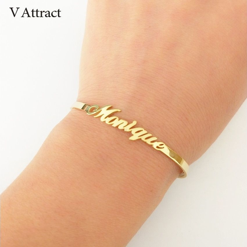 V Attract Personalized Hand Link BFF Jewelry Kpop Custom Name Bracelets Bangles Women Men Bijoux Femme Gold Erkek Bileklik 2018