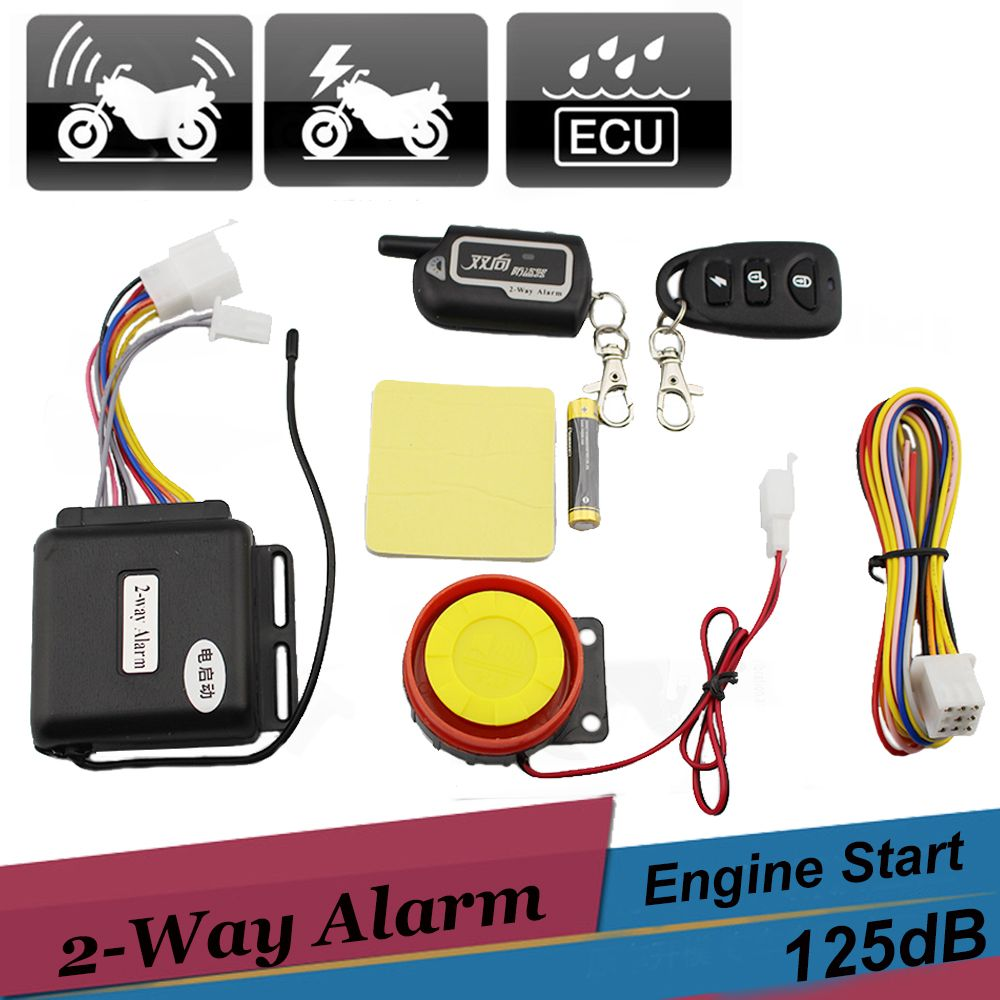 Two Way Motorcycle Scooter Alarm Remote Control Engine Start Vibration Alarm Universal Anti-theft Security System 12v