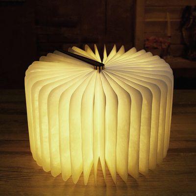 ICOCO Innovador USB Recargable LED Booklight Plegable Forma Libro de Madera Lámpara de Escritorio Luz de Noche para la Decoración Del Hogar Luz Blanca Cálida