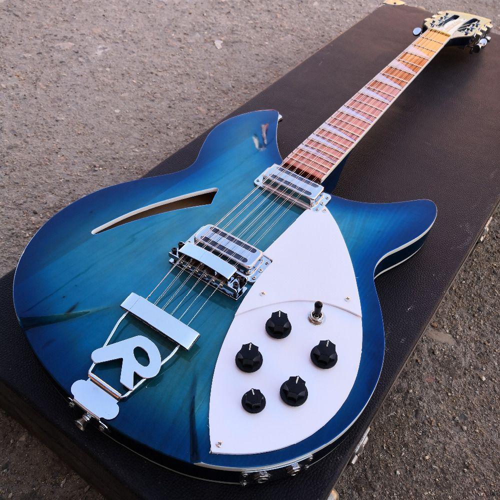 Ricken gitarre 12 string ozean blau gitarre zwei ausgang, palisander griffbrett hat den glanz von lack auf es