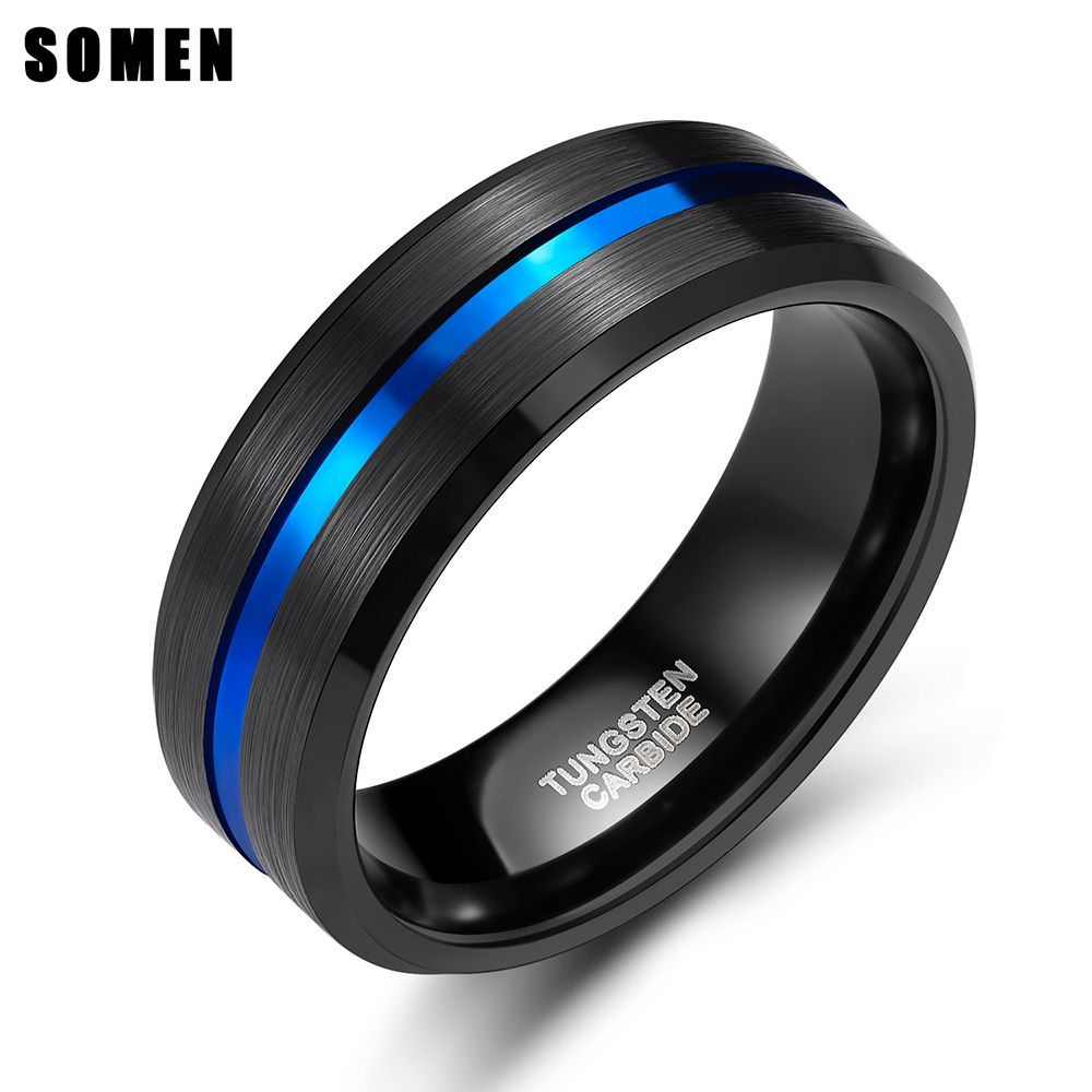 8mm bleu ligne incrustation hommes noir carbure de tungstène anneau pour fiançailles anneaux de mariage bijoux de mode Bague maçonnique Bague Homme