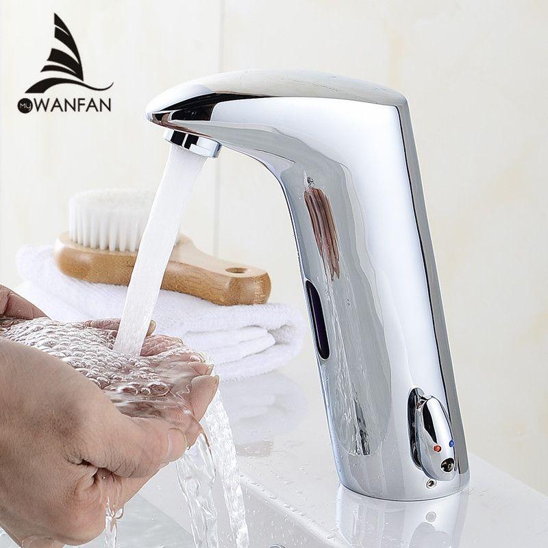 Robinet capteur salle de bains automatique mains tactiles économie d'eau Inductive électrique robinet d'eau batterie puissance bassin robinets 408901