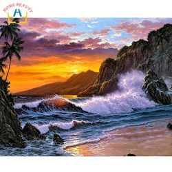 Самодельные картины по номерам модульная Холст Картина маслом для гостиной морской закат Раскраска по номерам ручная роспись стены искусс...