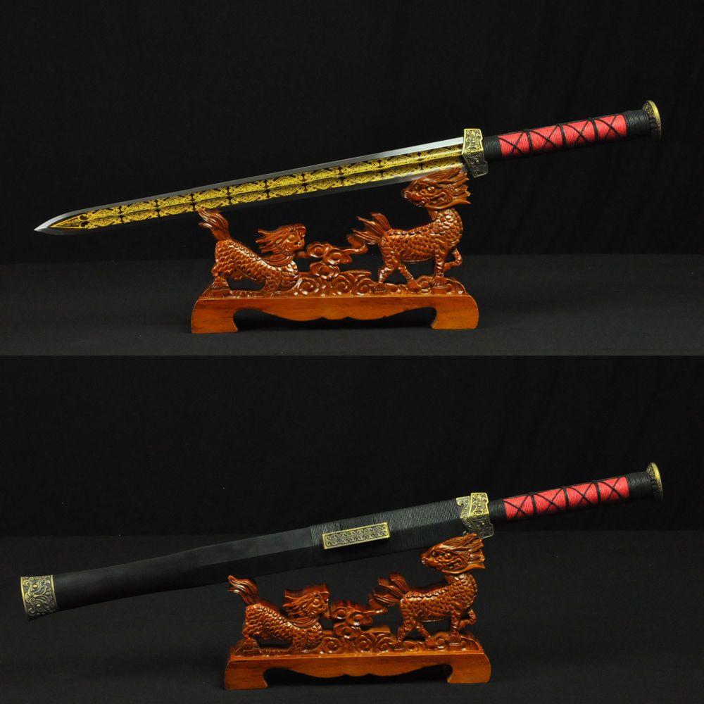 Main Antique Han Jian Épée Chine Pleine Saveur Plié Damas Acier Chinease Épées Raccords En Laiton Sculpté À La Main Lame Tranchante Chaude