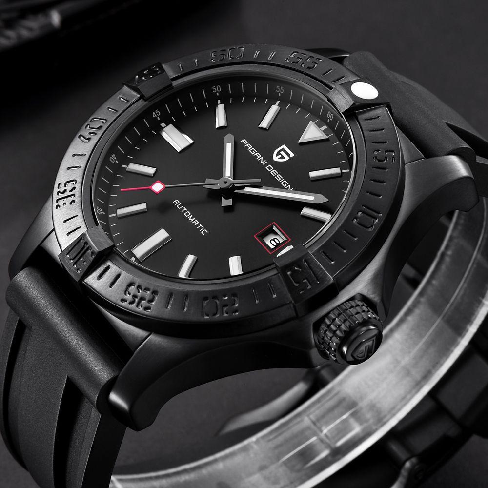PAGANI DESIGN Herren Uhren Top Luxus Klassische Gummi Strap Mechanische Uhren Mode Casual Wasserdichte 30M Automatische Uhr saat