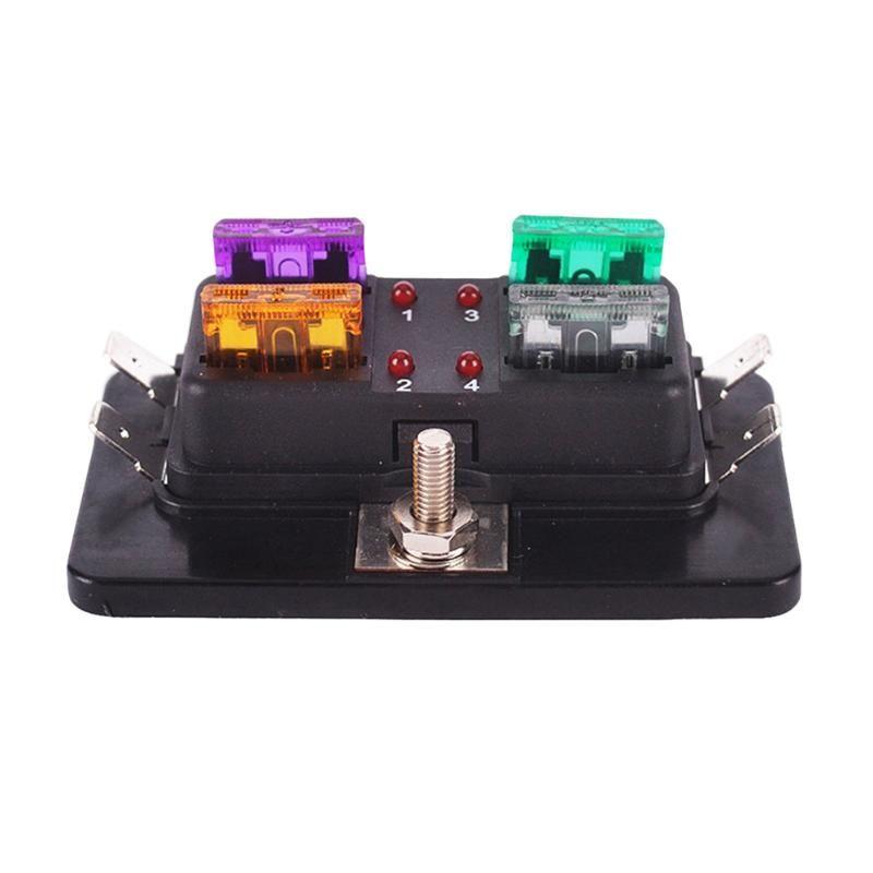 4 Way Circuit ATC ATO Blade Medium Fuse Box Holder w/ Red LED Indicator Light for Car Van Boat Marine 12V 24V 32V