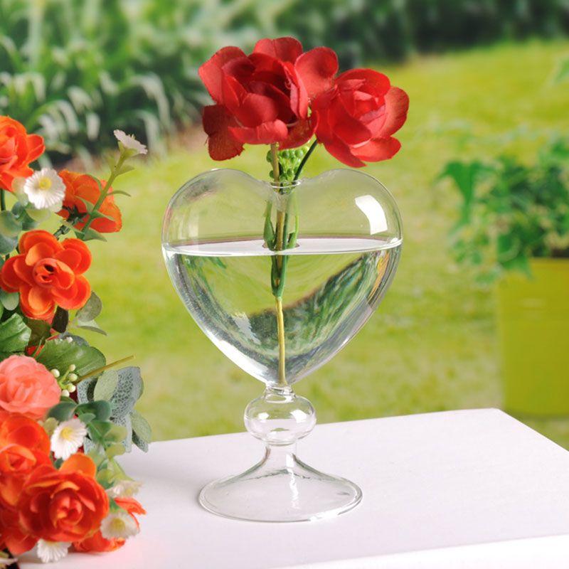 Pots de fleurs en verre jardinière coeur vase en verre debout décoration de la maison vase de fleurs de bureau vase décoratif décoration de fête de mariage vaso