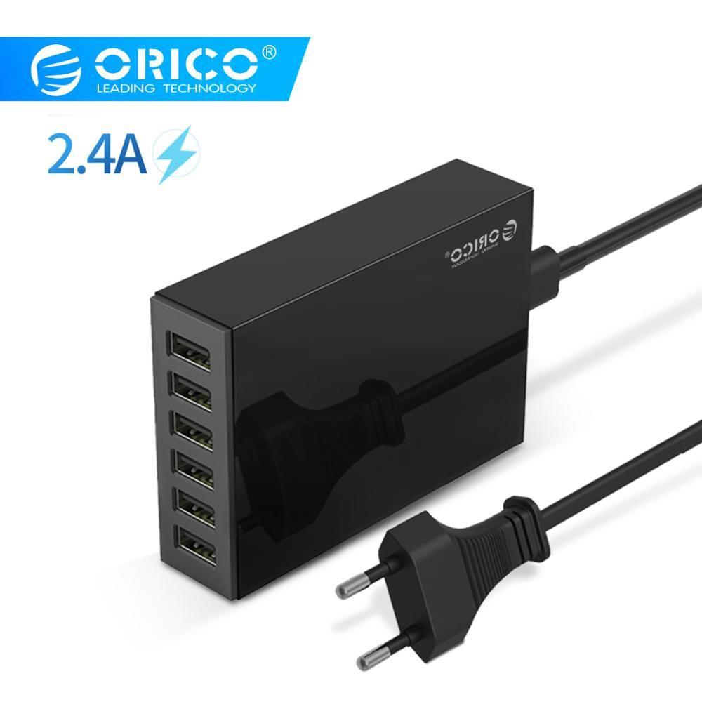 Adaptateur chargeur de bureau ORICO USB 6 ports 5V2. 4A chargeur rapide prise EU pour Xiaomi Samsung Huawei