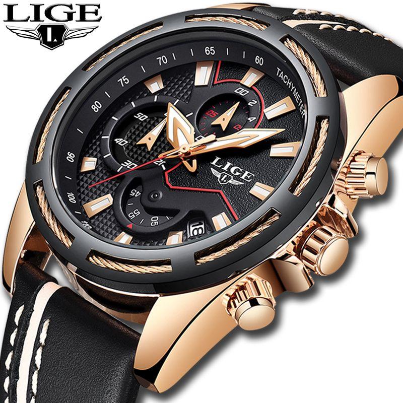 LIGE Mode Herren Uhren Top Brand Luxus Casual Sport Quarzuhr Männer Leder Wasserdichte Military Armbanduhr Relogio Masculio