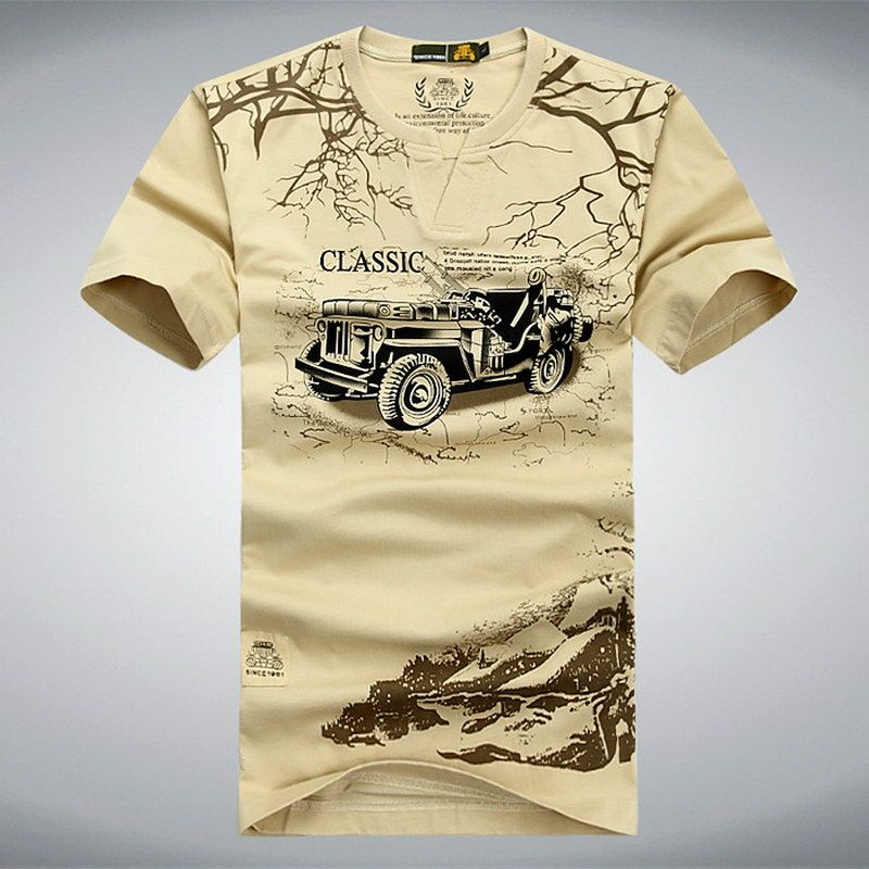 Élastique Coton T Shirt Men Summer AFS JEEP Marque Clothing Casual 3D T-Shirts Armée Tactique T-Shirt Militaire Style T-shirt, UMA012