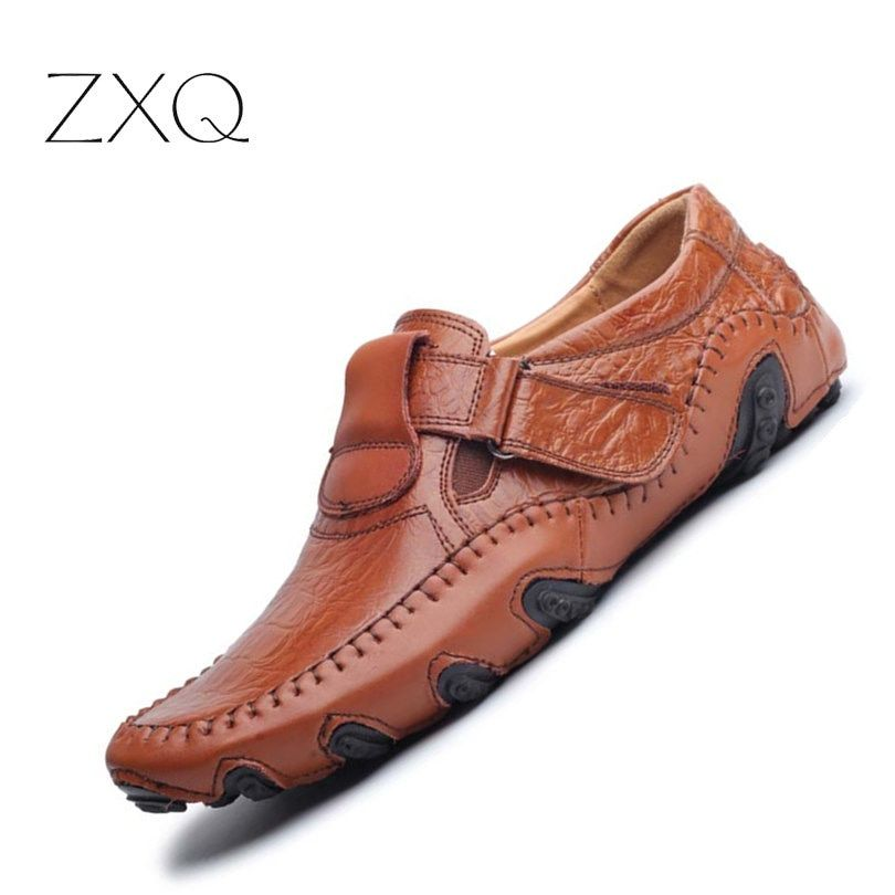 New Design 2017 Spring Summer Men Flat Shoes Soft Split Leather Male Moccasin Driving Loafers Shoes Casual Sapatos Homens