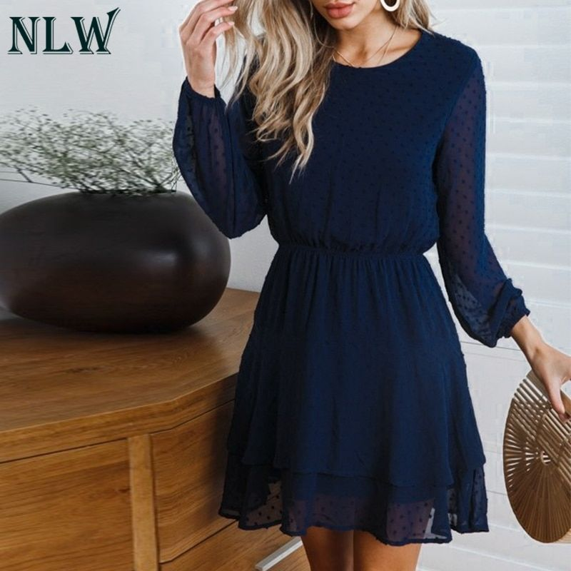 NLW Chiffon Famale Short Party Dress Women 2019 Autumn Winter Dress Elegant Long Sleeve Solid Polka Dots Dresses Vestidos