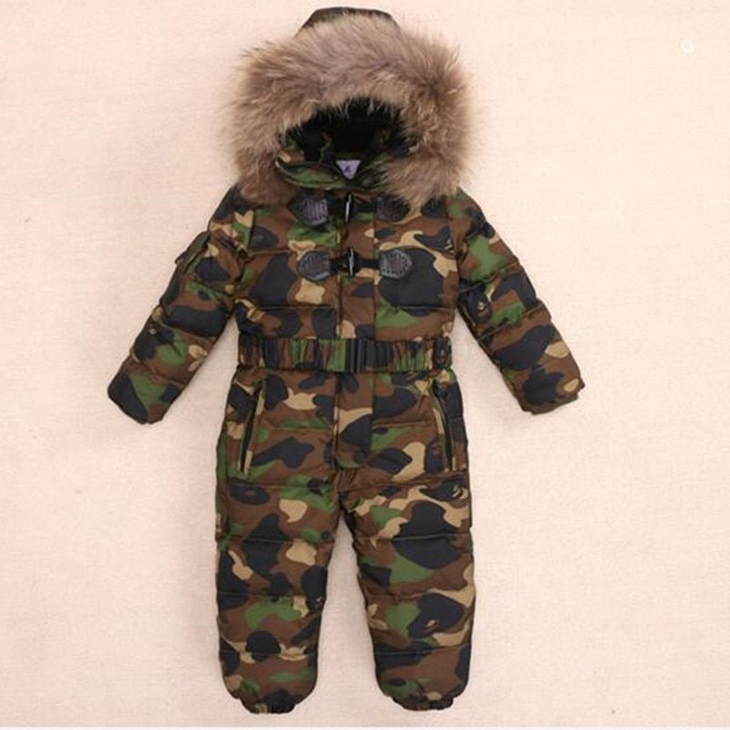 Детская Подпушка Комбинезоны для малышек с Натуральный мех капюшон Теплый Обувь для мальчиков Обувь для девочек зимние Комбинезоны для жен...
