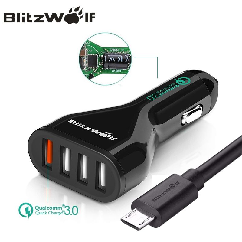 BlitzWolf QC3.0 Car Charger Mobile Phone Car-Charger 4 Port USB Car Charger Adapter With <font><b>Cable</b></font> Universal For iPhone For Samsung