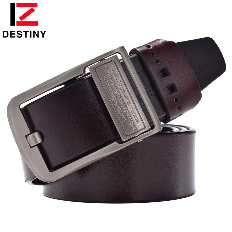 DESTIN véritable ceinture en cuir hommes marque de luxe célèbre designers de haute qualité ceinture homme boucle Ardillon large jeans vintage brun