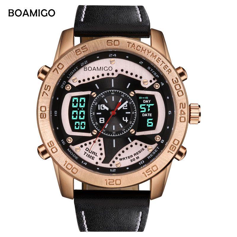 Boamigo hombres reloj Top marca de lujo creativo moda casual relojes deportivos digital analógico de cuarzo reloj de cuero Relogio Masculino