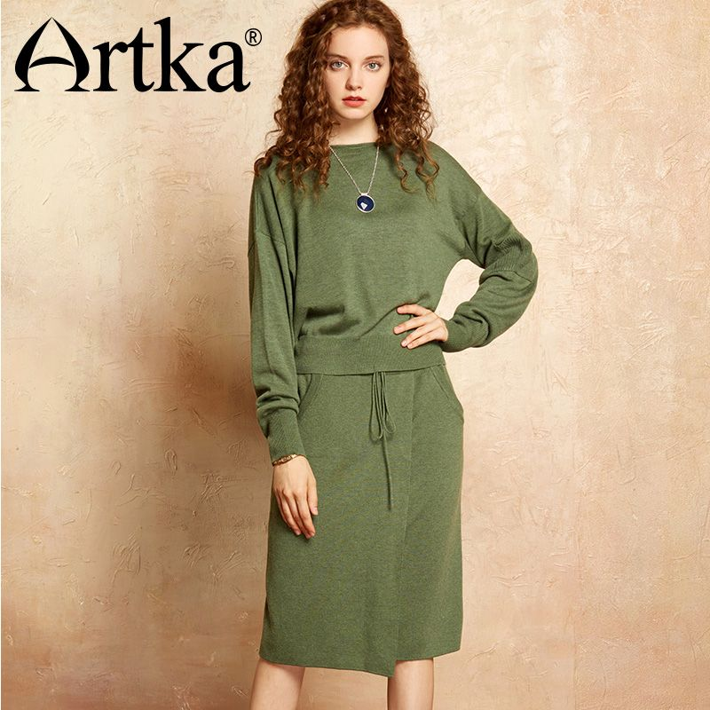 ARTKA 2018 Autumn& Winter Knit wear wool contained Pullover sweater and skirt two pieces suit YB11970Q