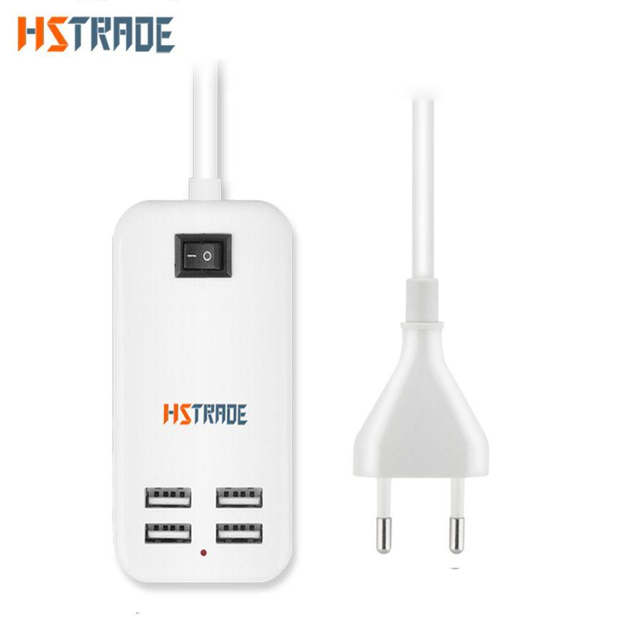 US Plug UE 4 Ports Multiples Mur USB Chargeur 15 W 3A AC Power Adaptateur 1.5 M câble long SUR/Off voyage accueil Carregador