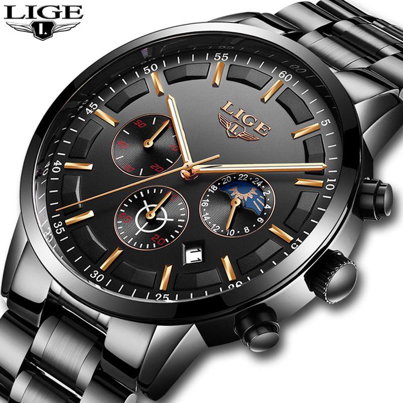 Herren Uhren LIGE Top Marke Luxus herren Chronograph Datum Wasserdicht Quarzuhr männer Mode Business Uhr Relogio Masculino