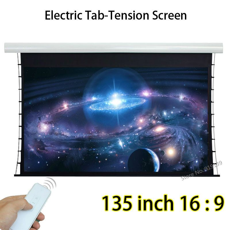 135 Diagonal 16:9 Widescreen Tab Tensioned Electric Projection Screen With Tubular Motor For BenQ Epson 3D Projector