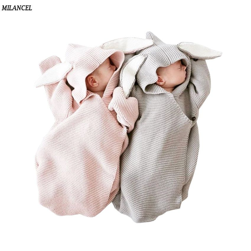 Milancel 2017 Baby Blankets Newborn Knitted Baby Covers Rabbit Ear Swaddling Baby Wrap Photography Bunny Style Swaddle Wrap