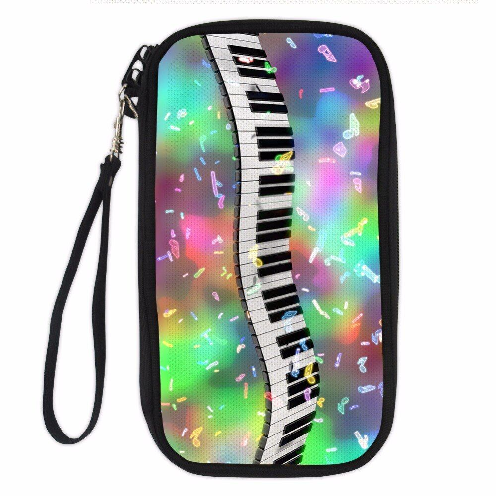 Noisydesigns Passport ID Card Holder 3D Denim Pocket color piano keyboard Printed Women Cluth Wallet Coin Purses for Girls Bags