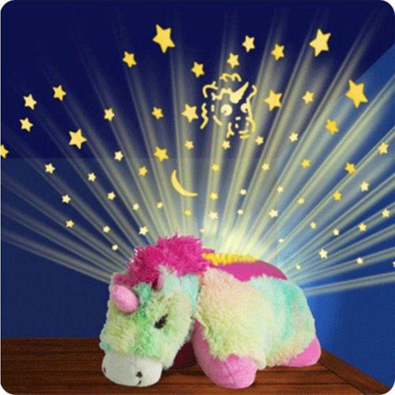 2017 Led Jouets Lumineux Licorne Câlins Animal Oreillers avec Ciel Étoilé nuit de Lueur dans L'obscurité Sommeil Léger Enfants Bébé Lumière Up jouets