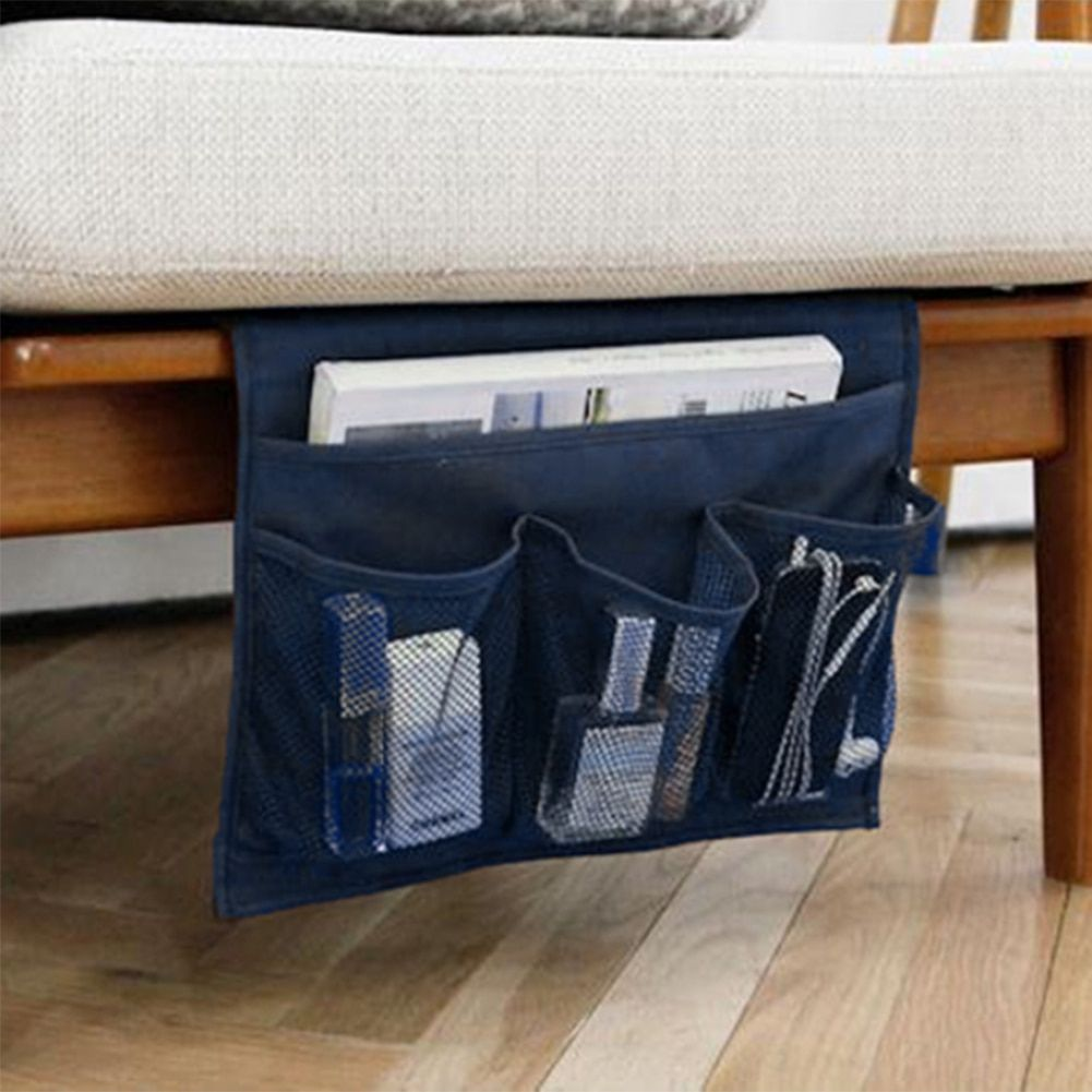 storage bag for TV remote control Creative Design Desk Cabinet Sofa Bed Side Pocket Hanging Bag phone organizer Blue
