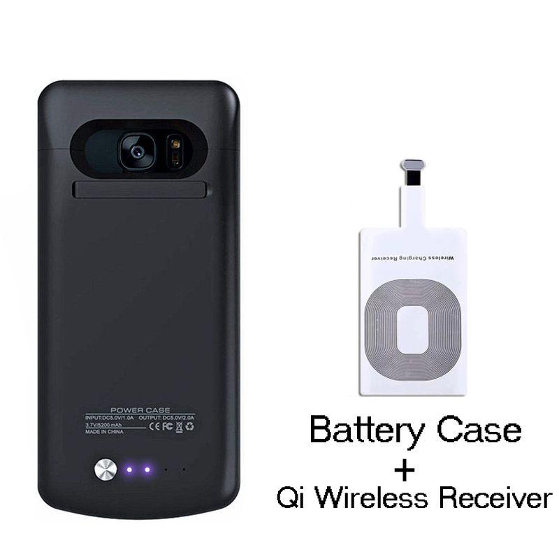 De Secours externe S7 Bord Chargeur Batterie Cas Pour Samsung Galaxy S7 Cas de Couverture Arrière avec QI Sans Fil de charge récepteur