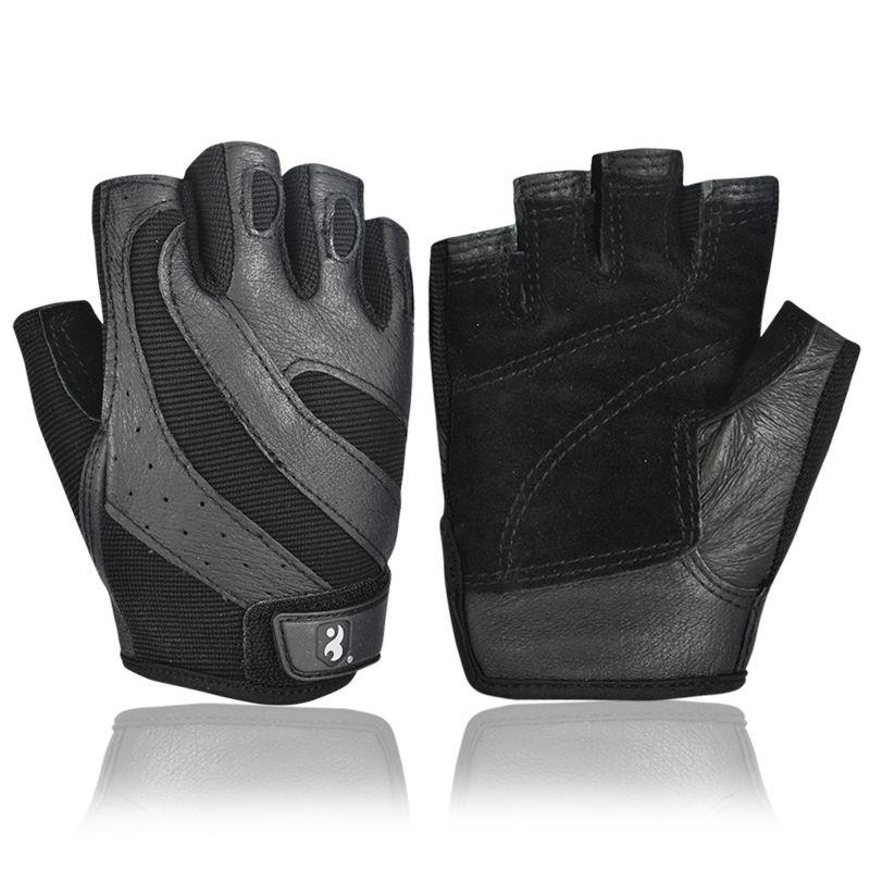 Boodun Gym Gloves Men Body Building Half Finger Fitness Gloves An-slip Weight Lifting Sports Training Fingerless Gloves Black