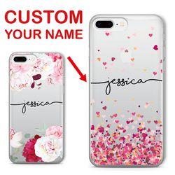 Personalizada nombre de encargo del texto floral suave claro teléfono caso para el iPhone 6 6 s 6 más 7 7 más 8 8 más 5 x samsung galaxy S7 S8 S9