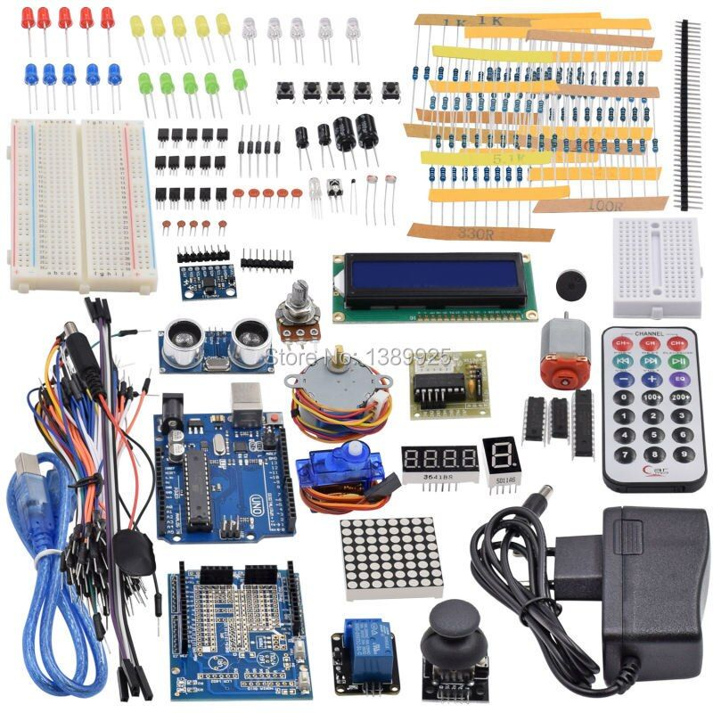 Ultimate Starter Kit including Ultrasonic Sensor, UNO R3, LCD1602 Screen for Arduino Mega2560 UNO <font><b>Nano</b></font> with Plastic Box