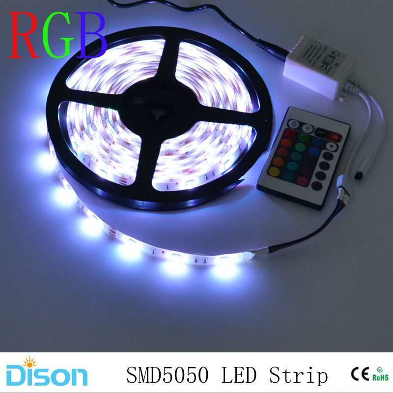 Водонепроницаемый 5050 SMD RGB Светодиодные ленты Освещение гибкие диода ленты лампы Клейкие ленты 12vled потолочный светильник Настенный ИК-пуль...