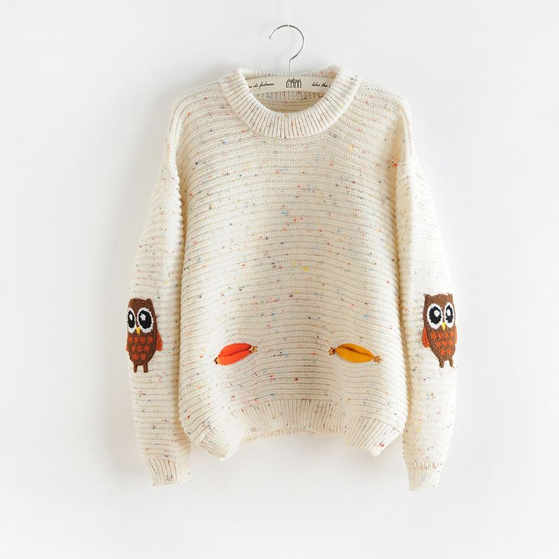 2017 Womens Fashion Winter Autumn O-neck Collar New Owl Character with Pocket Hit Color Solid Loose Cashmere Sweater Pullovers