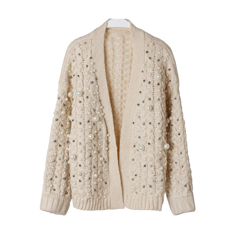 Luxury Pearl Handmade Beading Thick Winter Cardigan Female 2017 Fashion Design Oversized Wool Sweater Women Jacket Sweet Jumper