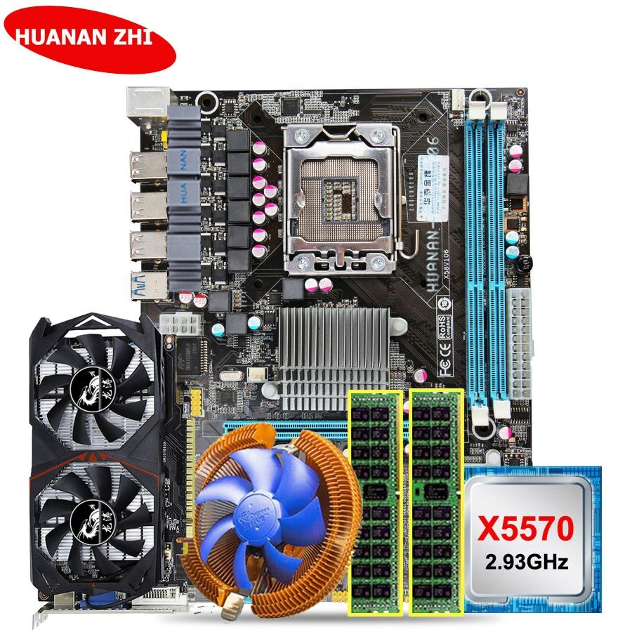 HUANAN ZHI rabatt X58 LGA1366 motherboard bundle mit CPU Intel Xeon X5570 2,93 GHz RAM 8G (2 * 4G) RECC GTX750Ti 2G video karte