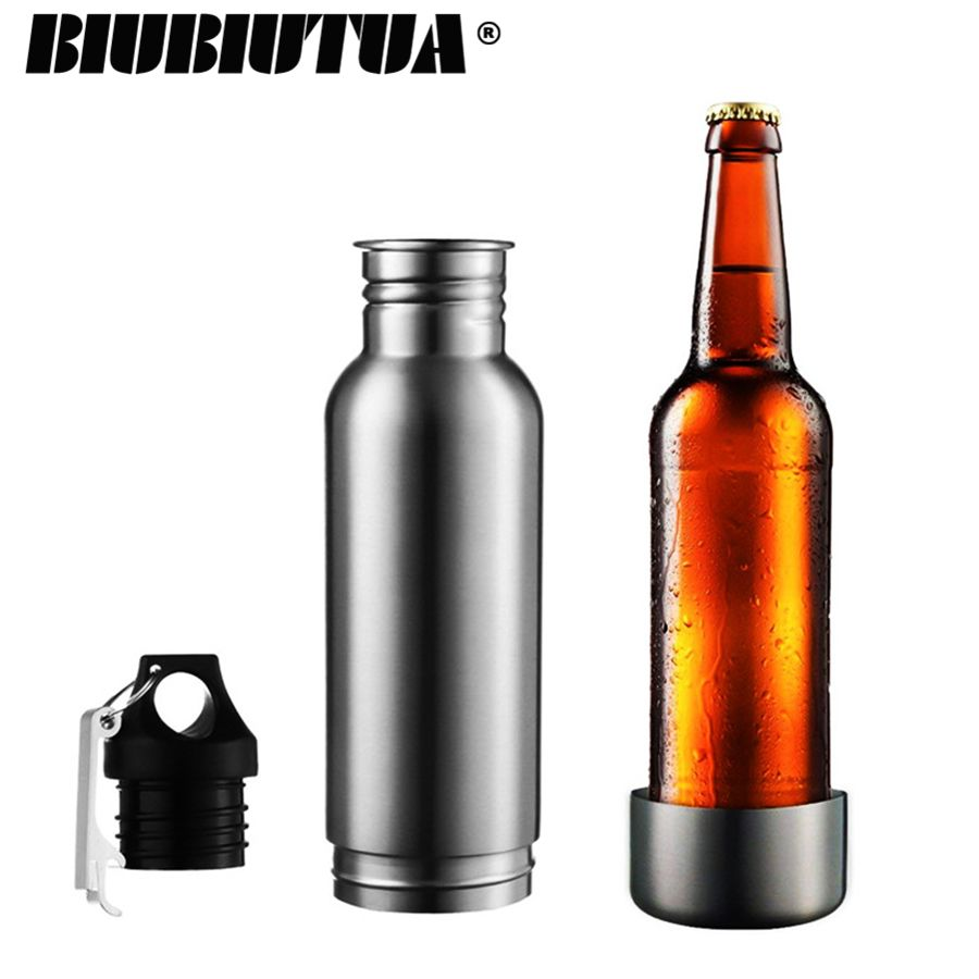 BIUBIUTUA 304 Stainless Steel Beer Insulator Cup Cold Keeper Holder with Metal Bottle Opener Cold Beer Holder Bottle