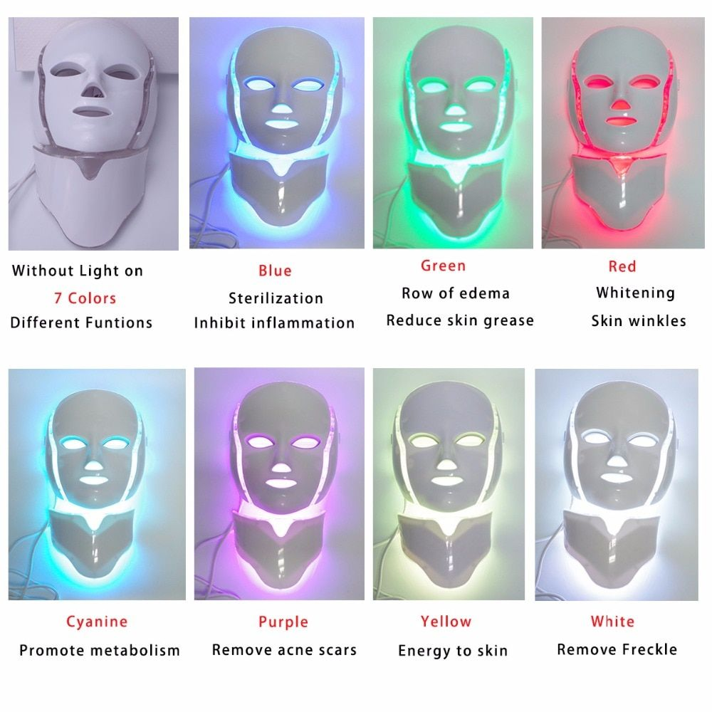 7 Colors Light LED Facial Mask With Neck Skin Rejuvenation Face <font><b>Care</b></font> Treatment Beauty Anti Acne Therapy Whitening Skin Tighten