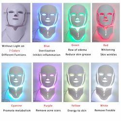 7 Couleurs Lumière LED Masque Facial Avec Cou Rajeunissement de La Peau Soins Du Visage Traitement Beauté Anti Acné Thérapie Blanchir La Peau Serrer