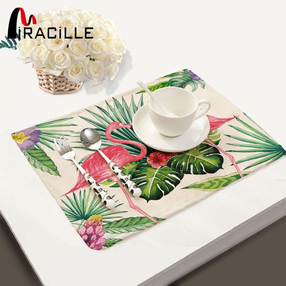 Miracille 2/4/6 pièces ensemble linge Tropical flamant motif napperon maison décoratif tapis de Table cuisine tapis de table serviette de Table
