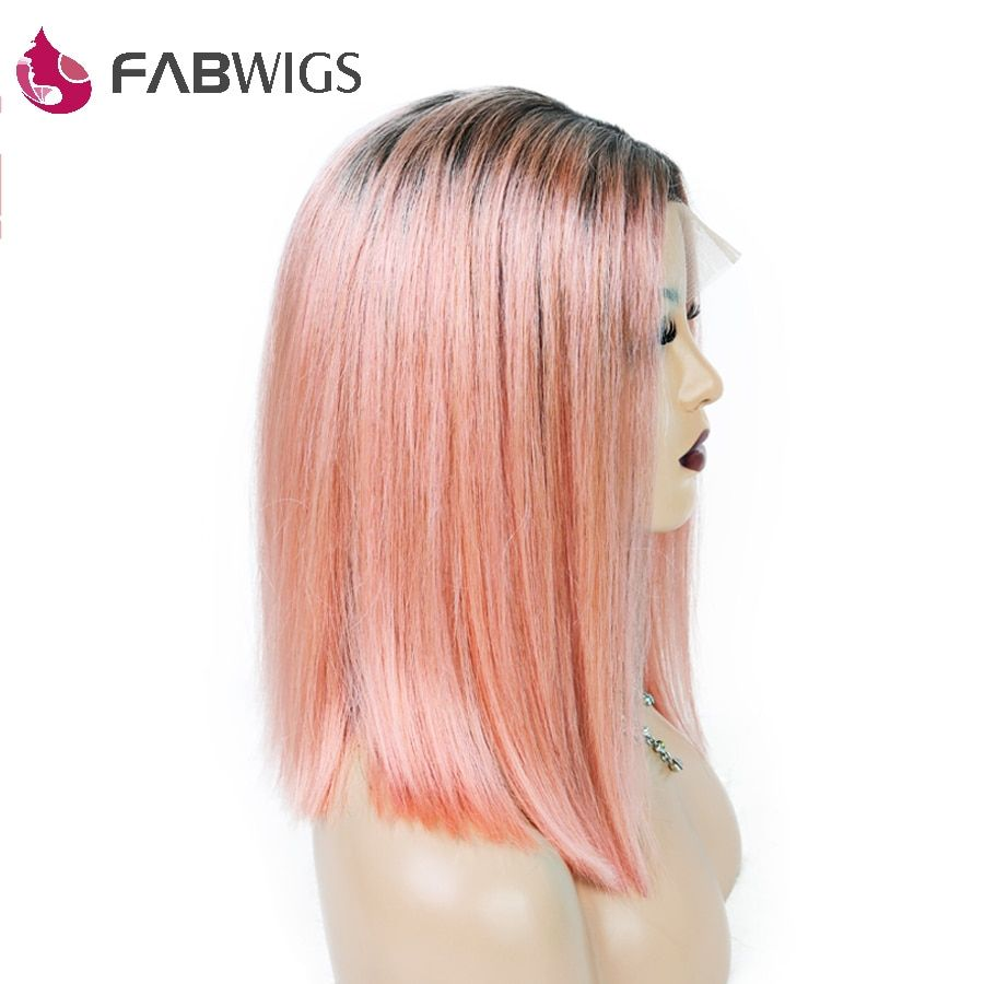 Fabwigs 250% Density 1B/Pink BOB Wig Lace Front Wigs with Baby Hair European Pre Plucked Short Human Hair Wigs Remy Hair